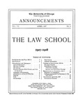 Law School Announcements 1907-1908 by Law School Announcements Editors