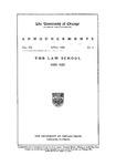 Law School Announcements 1920-1921 by Law School Announcements Editors