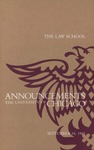 Law School Announcements 1985-1986 by Law School Announcements Editors