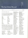 Law School Record, vol. 8, no. 1 (Fall 1958) by Law School Record Editors