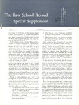 Law School Record, vol. 8, no. 1 Special Supplement (Fall 1958) by Law School Record Editors